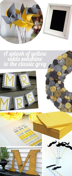 Our modern squares save the date in yellow and gray!  Can be found at http://www.shineweddinginvitations.com/