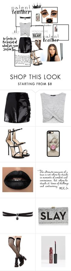 """""""blackk"""" by dezzi17 ❤ liked on Polyvore featuring Kenzo, New Look, Giuseppe Zanotti, Fallon, Milly, Music Legs, Lottie and patentleather"""