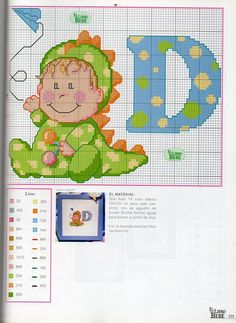 Solo Patrones Punto Cruz (pág. 1679) | Aprender manualidades es facilisimo.com Cross Stitch For Kids, Cross Stitch Baby, Cross Stitch Alphabet, Cross Stitch Patterns, Stitching Patterns, Dinosaur Alphabet, Stitch 2, Letters And Numbers, Embroidery Art