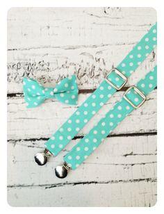 Robins' Egg / Tiffany Blue / Polka Dot Suspenders & Bow Tie Set on Etsy, $39.50