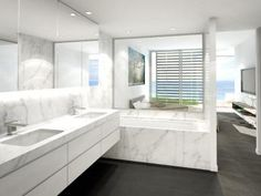 Modern bathroom design with recessed bath using marble - Bathroom Photo 123888