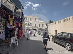 Street and old Building in Sousse medina.Old walls and buildings in the market  . Tunisia. Africa.