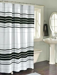 Black And White Horizontal Striped Shower Curtains Coral Bathroom Downstairs Grey Bathrooms