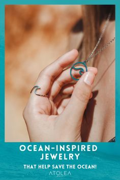 Get ready to ride the waves and bring those beachy vibes all. year. long with our Beach Wave Ring and Ocean Necklace. Help save the ocean with each of your purchase! Get it now at atoleajewelry.com