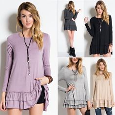 LIZBETH ruffle long sleeve top - 5 colors LONG SLEEVE ROUND NECK, SOFT HEAVY RAYON SPAN RUFFLE TUNIC, CAN BE WORN UNDER A TOP AS A LAYERED LOOK. Available in black (S) dark grey (S) , doeskin (S & M) & H. Grey (S)  & MUAVE (all sizes) , Super soft & versatile. Great for layering, see pic 3. Good for all seasons. NO TRADE, PRICE FIRM Bellanblue Tops Tees - Long Sleeve