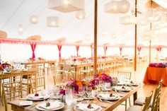 Pacific Collection - Various Capiz chandeliers in tent at Cavallo Point in San Francisco, California