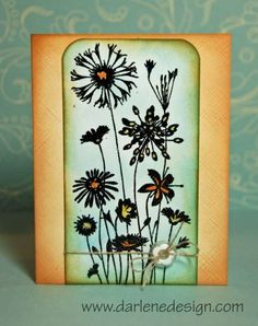 Black Sparkle Flowers with Distress Inks