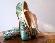 Mehndi Pointe Shoes, Teal and Pink, Hand Dyed.