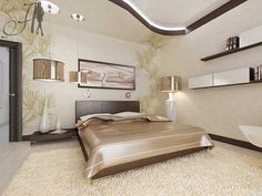 Brown and cream bedroom design for master bed. lovely ceiling design! :D