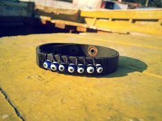 Unisex black leather bracelet with nazar evil eye by VavienStore, $16.00