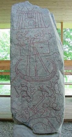 Wolf on Rune stone Monument  8th Century CE. Sparlosa, Sweden