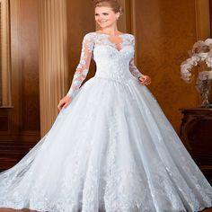 Vestido de noiva Long Sleeve Ball Gown Wedding Dress