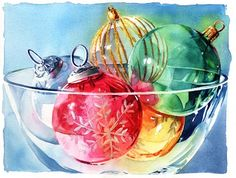 Watercolor of Christmas Ornaments