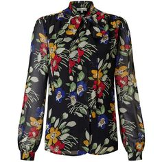 Somerset by Alice Temperley Vintage Floral Blouse, Black (610 HRK) ❤ liked on Polyvore featuring tops, blouses, long sleeve tops, vintage neck ties, vintage neckties, floral blouses and ruched blouse
