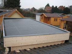Afbeeldingsresultaat voor tuinhuis plat dak zelf maken
