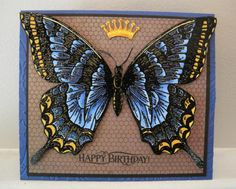 handmade greeting card: Swallowtail Birthday by incindiary  ... luv how the butterfly seems to clow .. embossed in black and colored with Copics in blue and yellow ... ... fussy cut  and popped on a card that just barely fits it ... like the crown too ... Stampin' Up!