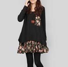 Long Sleeve Black Dress Soft Cotton Layered by Jessieclothing