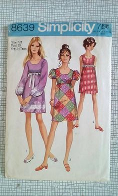 Boho Dress Pattern / Vintage Juniors' / Teen's Dress / 2 Sizes: or Bust 28 or 32 / Simplicity 8639 Vintage Dress Patterns, Clothing Patterns, Womens Medieval Dress, Simplicity Sewing Patterns, Pattern Sewing, Seventies Fashion, Boho Dress, Vintage Ladies, 1960s