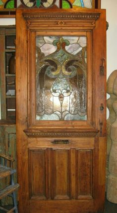ANTIQUE PINE DOOR WITH STAINED GLASS PANEL. Landandross.com