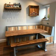 these are all corner bench / table combinations i have made for various clients, all completely unique and designed around my customers needs, priced around 1500-2000 on average. free local delivery and installation by me. contact me for quotes and a friendly design chat. thank you Darren 07403 737 Corner Bench Dining Table, Corner Bench Seating, Bench Set, Dining Room, Bench Seating Kitchen Table, Corner Bench With Storage, Dining Sets, Dining Area, Booth Seating In Kitchen