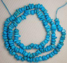 "Sleeping Beauty Turquoise Gemstone Chip Beads Blue 18"" Std Jewelry Craft   #983 #SleepingBeauty #Southwest"
