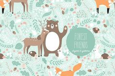 "Ad: ""Forest Friends"" clipart and pattern by Inna Moreva on So excited to share with you one of my favorite ever set of cutest forest friends! There are two seamless vector patterns inside and lots of Fox Pattern, Cute Pattern, Vector Pattern, Friends Clipart, Graphic Patterns, Graphic Design, Kids Patterns, Print Patterns, Animal Alphabet"