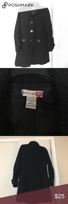 Body Central Black Pleated Peacoat Body Central Black Pleated Peacoat. Size Medium. Warm and semi heavy. Signs of normal wear and tear with some pulls. Overall decent condition. Body Central Jackets & Coats Pea Coats