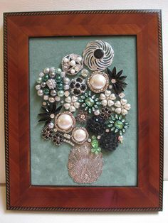 Jeweled Framed Jewelry Flower Bouquet Mint Green Black Silver