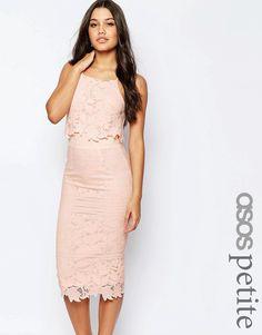 ASOS PETITE Lace Floral Scallop Midi Dress