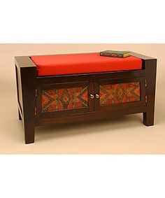 I  want this even though I have no idead where i'd put it.  Too much, don't do it!  But it's handmaaaade!  Wood and Glass Reverse Painted Cushioned Bench (Peru)