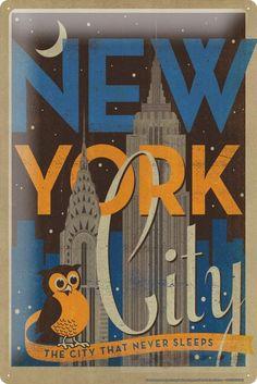 Blechschild Abenteurer Wand Deko New York City USA Metallschild 20X30 cm