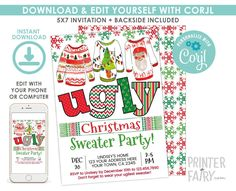 Ugly Sweater Christmas Party Invitation, EDITABLE, Christmas Party, Ugly Sweater Party Invitation, DIGITAL, Instant Download Ugly Sweater Party, Ugly Christmas Sweater, Christmas Party Invitations, Birthday Invitations, Christmas Baby Shower, Diaper Raffle Tickets, Baby Shower Diapers, Digital Invitations, Baby Sweaters