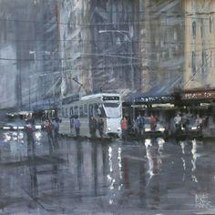 Rain - Elizabeth Street, Melbourne. Mike Barr acrylic - 30x30cm