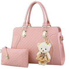 Womens Brustbeutel 2 Pieces Umhängetasche Handtasche für Damen mit Bär
