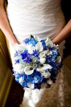 Blue wedding flowers http://weddingflowersideas.blogspot.com/2014/04/blue-wedding-flowers.html