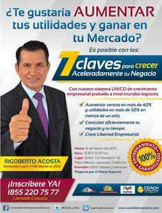 "Asiste al gran Entrenamiento:  ""7 Claves para Crecer Aceleradamente tu Negocio""  Plaza México, Lynwood, California (EUA)    http://www.facebook.com/events/218377778300777/"
