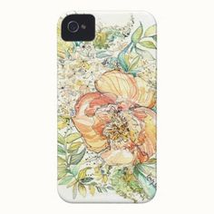 Created By momentaldesigns:  Peach Peony Watercolor iPhone Case  Delicate peach and green watercolor create a soft and subtle pattern of peonies and leaves. Original artwork by Kristy Rice.