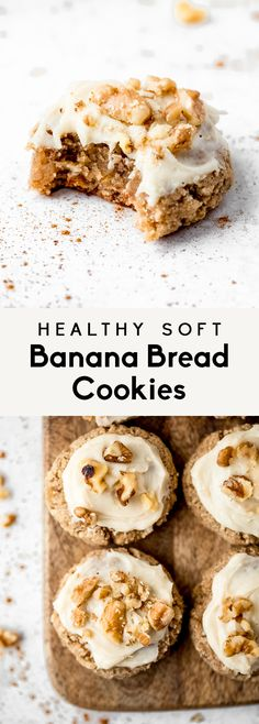 Soft, healthy banana cookies topped with a cream cheese frosting! These gluten free banana cookies taste like a slice of your favorite banana bread. Keto Cookies, Banana Bread Cookies, Gluten Free Cookies, Gluten Free Desserts, Vegan Desserts, Healthy Cookie Recipes, Healthy Cookies, Healthy Treats, Healthy Deserts