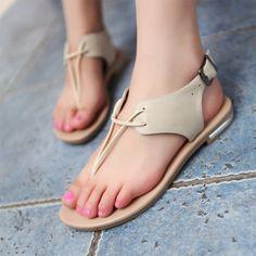Buckle Genuine Leather Flat Sandals Flip Flops 1648