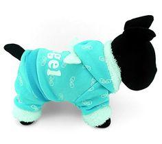 SELMAI Pet Puppy Cat Small Dog Clothes Warm Fleece ANGEL Hoodies Jacket Coat Jumpsuit Outfits Blue XS