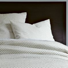 Swiss Dot Duvet Cover + Shams - White/Slate from West Elm; Cozy!