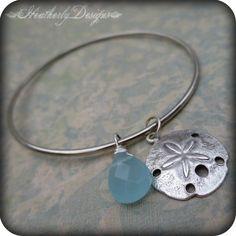 Seaward: aqua quartz & sand dollar bauble silver charm bangle bracelet