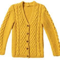 Strickmuster: Gelbe Zopfjacke stricken - Anleitung und Muster