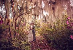 Charleston Gardens with Cypress trees, spanish moss and azalea wedding backdrop ~ we ♥ this! moncheribridals.com