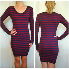 Striped Knit Tight Sweater Dress Navy Red S V neck Very soft and stretchy knit fabric Perfect condition Brand is Forever 21 Zara Dresses Long Sleeve