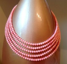 5mm Round Pink Coral Gemstone 5 Tier Necklace by EvezBeadz.artFire.com, on SALE, $100