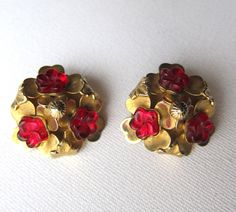 1930s ruby and gold clip on earrings