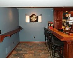 bar area in basement remodel