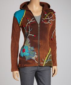 Look at this Rising International Brown Pom-Pom Sprout Hoodie on #zulily today!