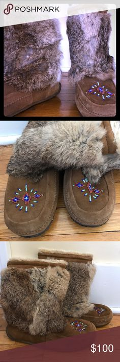 Minnetonka Rainier Mukluk Boots Exterior is genuine rabbit fur and leather, interiors fleece lined.  Super cozy and stylish!  Beaded accents add the perfect pop of color.  Size 8, but seems to run a little small.  Worn only a handful of times. Minnetonka Shoes Moccasins